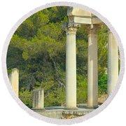 Ruins Of Roman Columns In Glanum  Round Beach Towel