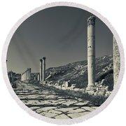 Ruins Of Roman-era Columns Round Beach Towel