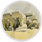 Ruins Of The Temple Of Kom Ombo Round Beach Towel by David Roberts