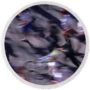 Runners Along Street In A Marathon Blurred And Abstract Round Beach Towel
