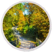 Runner's Path In Autumn Round Beach Towel by Parker Cunningham