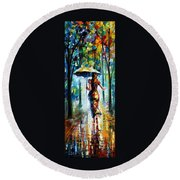 Running Towards Love - Palette Knife Oil Painting On Canvas By Leonid Afremov Round Beach Towel