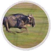 Running Wildebeest IIi Round Beach Towel