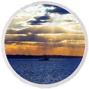 Running With The Light Round Beach Towel
