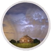 Rural Country Cabin Lightning Storm Round Beach Towel