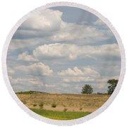 Rural Field Landscape In Maryland Round Beach Towel
