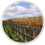 Rural Landscape With Fence Round Beach Towel