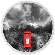 Rural Post Box Round Beach Towel by Mal Bray