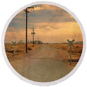 Rural Railroad Crossing Round Beach Towel