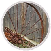 Rural Relics Round Beach Towel