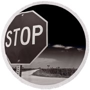 Rural Stop Sign Bw Round Beach Towel