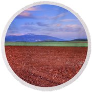Rural Sunset Round Beach Towel