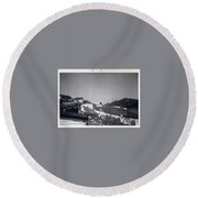 Rural Washday 1969 - Nostalgic Memories Round Beach Towel