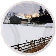 Rural Winter Landscape Round Beach Towel