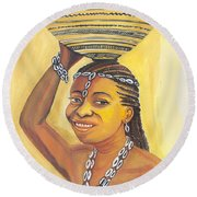 Rural Woman From Cameroon Round Beach Towel