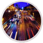 Rush Hour Traffic On North Capitol Show Round Beach Towel
