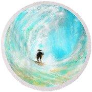 Rushing Beauty- Surfing Art Round Beach Towel