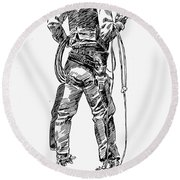 Russell The Cowboy Round Beach Towel