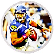 Russell Wilson In The Pocket Round Beach Towel