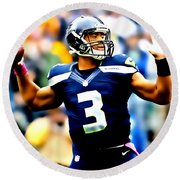 Russell Wilson Smooth Delivery Round Beach Towel
