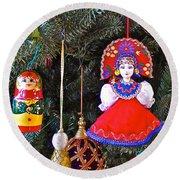 Russian Christmas Tree Decoration In Fredrick Meijer Gardens And Sculpture Park In Grand Rapids-mi Round Beach Towel