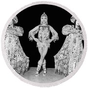Russian Claudia Ballet Dancers Round Beach Towel by Underwood Archives