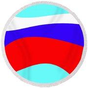 Russian Flag Round Beach Towel by Lali Kacharava