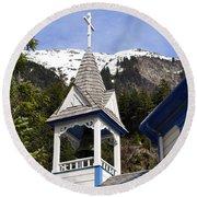 Russian Orthodox Church Bell Tower Round Beach Towel