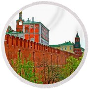 Russian Orthodox Church From Park Outside The Kremlin In Moscow-russia Round Beach Towel