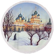 Russian Winter Round Beach Towel