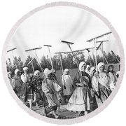 Russian Women Go To The Fields Round Beach Towel