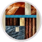 Rust And Rocks Rectangles Round Beach Towel