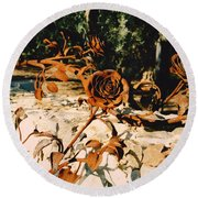Rust And Roses Round Beach Towel