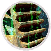 Rusted Gears Abstract Round Beach Towel