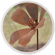 Rusted Iron Flower Round Beach Towel