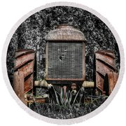 Rusted Old Tractor Round Beach Towel