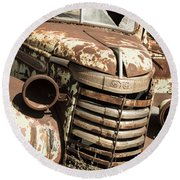 Rusted Pickup  Round Beach Towel