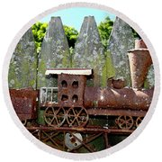 Rusted Rails Round Beach Towel
