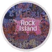 Rusted Rock Island Line Train Car Round Beach Towel