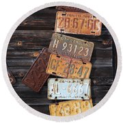 Rusted Usa Round Beach Towel