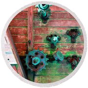 Rusted Valves Round Beach Towel