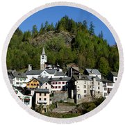 Rustic Alpine Village Round Beach Towel