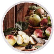 Rustic Apples Round Beach Towel by Amanda Elwell