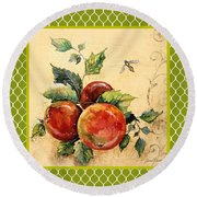 Rustic Apples On Moroccan Round Beach Towel