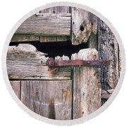 Rustic Barn Door Round Beach Towel