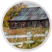 Rustic Berkshire Barn Round Beach Towel