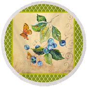 Rustic Blueberries On Moroccan Round Beach Towel