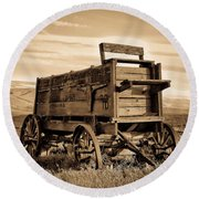 Rustic Covered Wagon Round Beach Towel