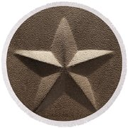 Rustic Five Point Star Round Beach Towel