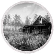 Rustic Historic Woodlea House - Black And White Round Beach Towel